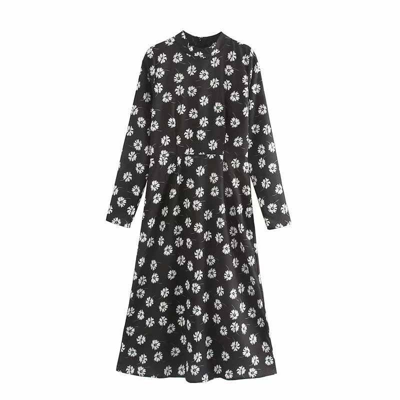 ZA חדש אביב נשים שחור פרחוני הדפסת O-צוואר ארוך שרוול אמצע עגל שמלה נשי אופנה בציר בגדים