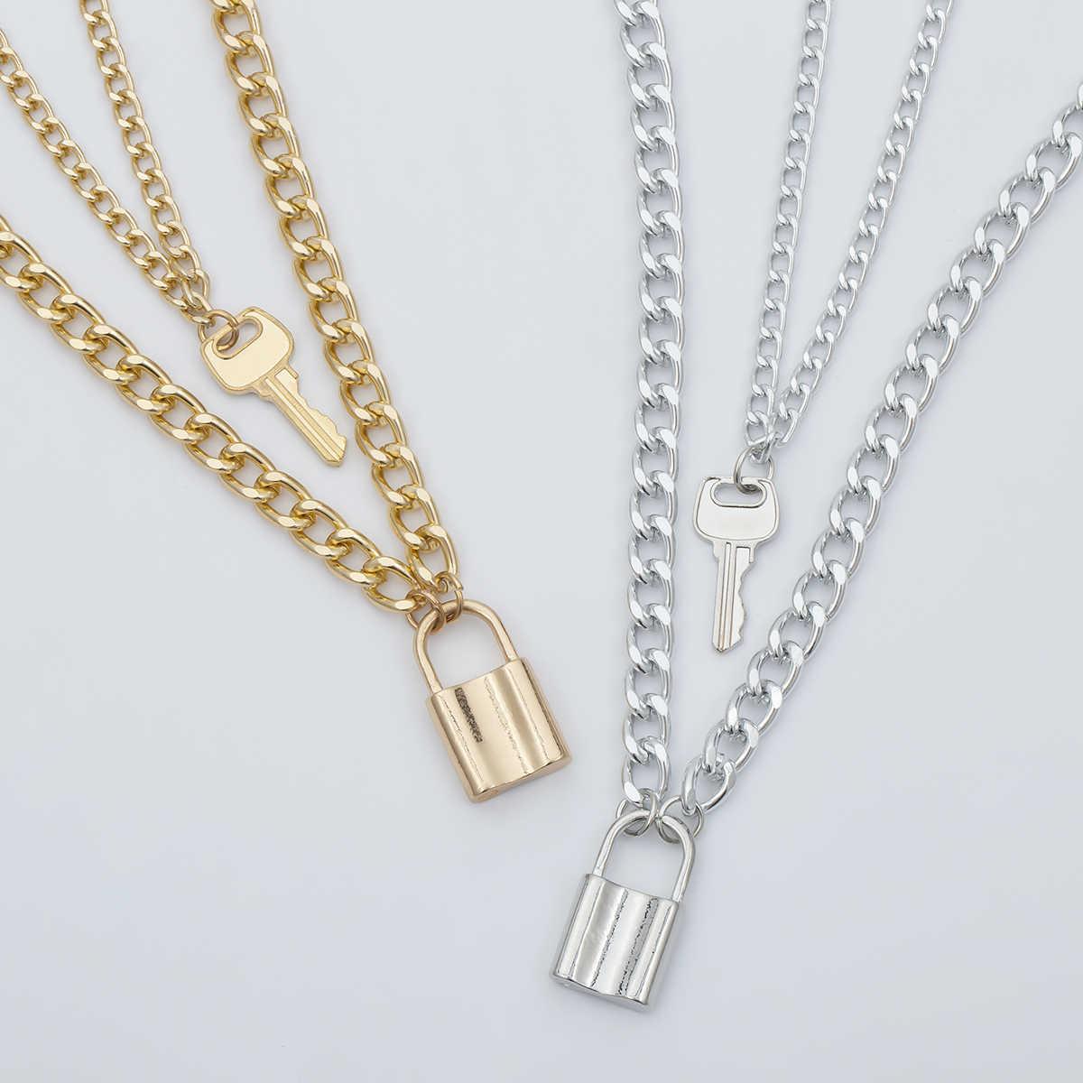 PuRui kłódka blokada wisiorek naszyjnik typu choker z charmsami z kluczem srebrny długi złoty łańcuch Punk Goth oświadczenie naszyjnik dla kobiet biżuteria