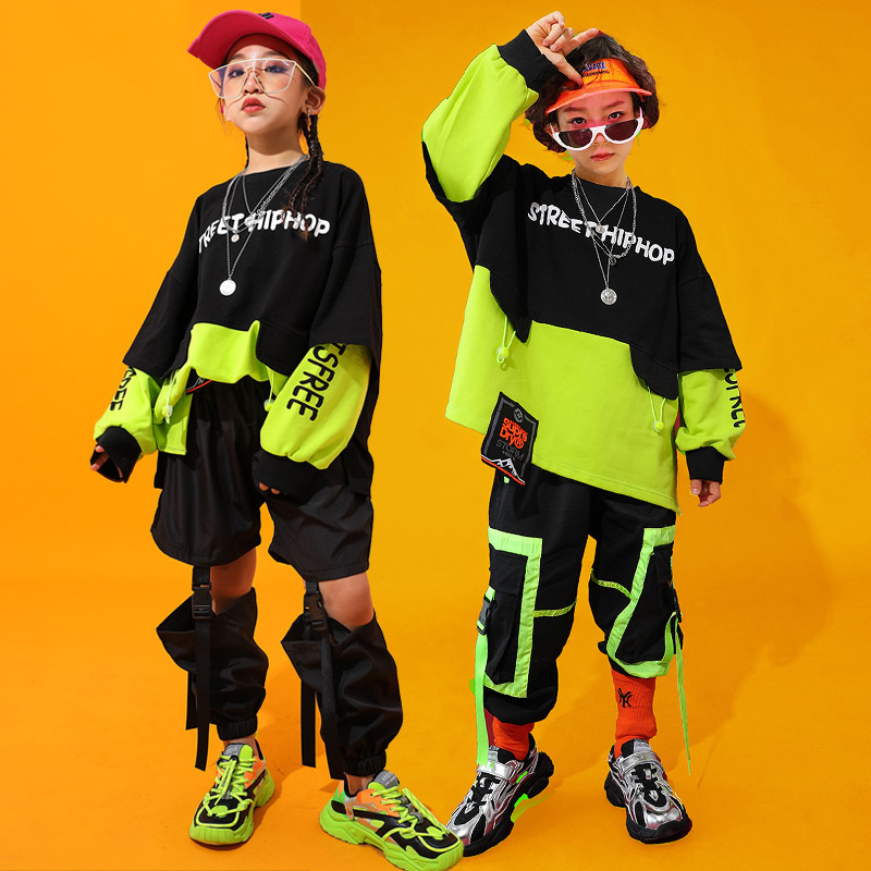 Fashion Jazz Dance Costumes Kids Hiphop Rave Outfit Street Dance Practice Wear Stitching Stage Performance Clothing DC3098