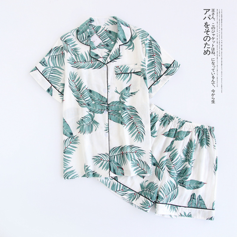 Short Pyjamas Cartoon Sleepwear Japanese Women Cute Ladies Simple 100%Cotton