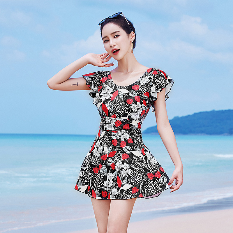 Underwire Small Bust Gathering Long Split Type Boxer Two-Piece Set Large Size Conservative Belly Covering Swimsuit Women's Seasi