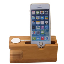 Station daccueil et de charge en bambou pour montre Apple iWatch et iPhone, base de support pour chargeur, accessoire de bureau esthétique, fourniture de travail, pour smartphone et téléphone portable
