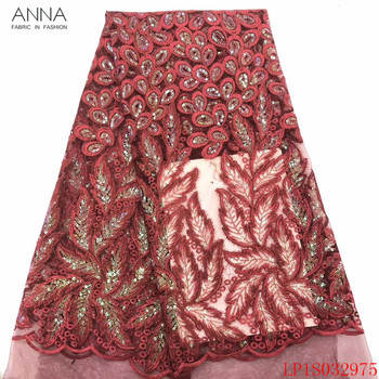 Anna african sequins lace fabric 2020 high quality embroidered red tulle fabrics 5 yards/pcs french net laces for garment sewing