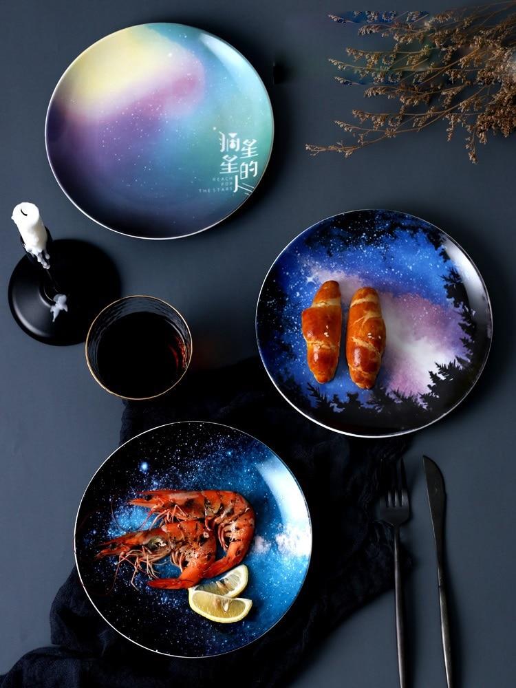 8inch Creative Ceramic Starry Sky Plate Gift Dish Tableware Porcelain Handmade Cake Dessert Snack Fruit Western Steak Flat Plate