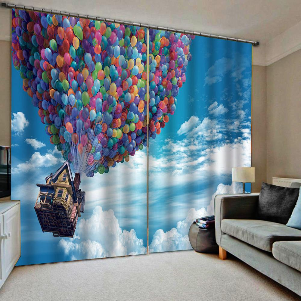 3d Curtains Decor Balloon Photo Grils Room Curtain Blue Sky White Clouds Window Curtains For Living Room Luxurious Curtains Aliexpress