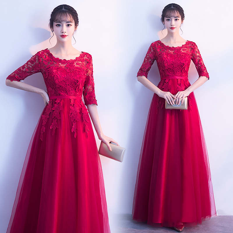 Red Bridesmaid Dress Sexy Prom Half Sleeves Long Black Dress For Wedding Party For Woman White Vestido Azul Marino Elastic Back