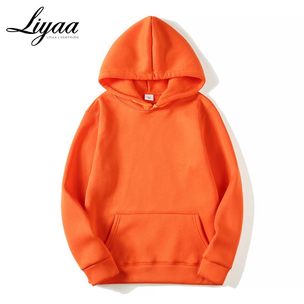 Liyaa Merek Fashion Pria Hoodies 2020 Musim Semi Musim Gugur Pria Kasual Hoodies Kaus Pria Warna Solid Hoodies Sweatshirt Atasan