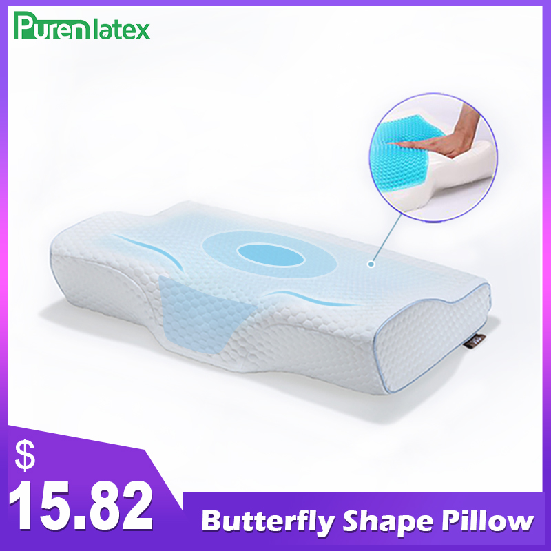 Purenlatex Orthopedic Memory Foam Gel Contour Pillow Ergonomic Cervical Pillow Neck Pain For Side Back And Stomach Sleepers