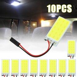Dropshipping 5pcs/10pcs T10 W5W Car LED Bulbs COB 15 SMD Interior Light Festoon 31mm~39mm LED Auto Dome Reading Lamp White 12V