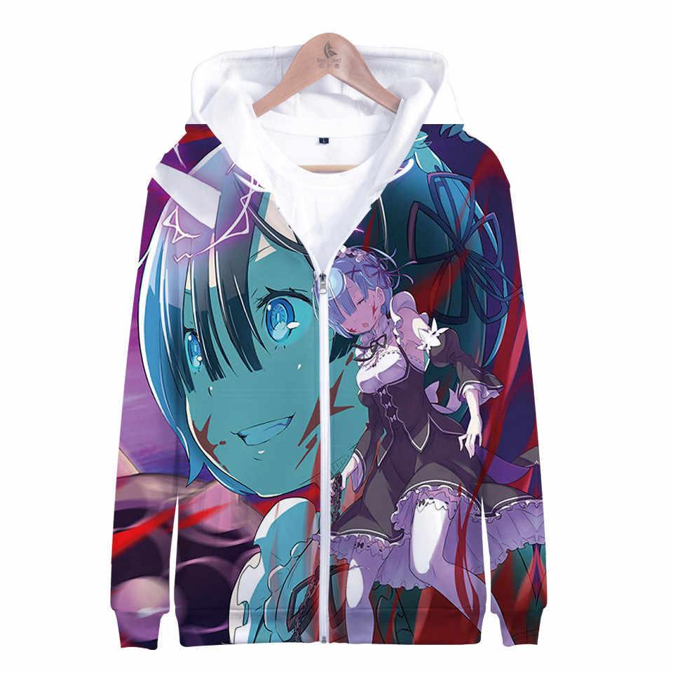 Unisex Anime Re:Life in a Different World from Zero Camiseta Casual Sudadera con Capucha de Manga Larga Rem Sudaderas