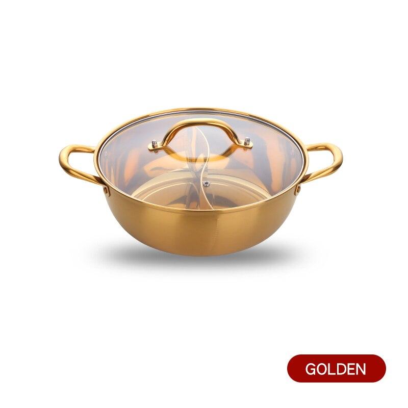 Горячий горшок из нержавеющей стали с двумя отделениями, кухонный горшок, кухонная утварь, однослойная совместимая суповая кастрюля, горшки для домашнего ресторана, инструменты - Цвет: Gold