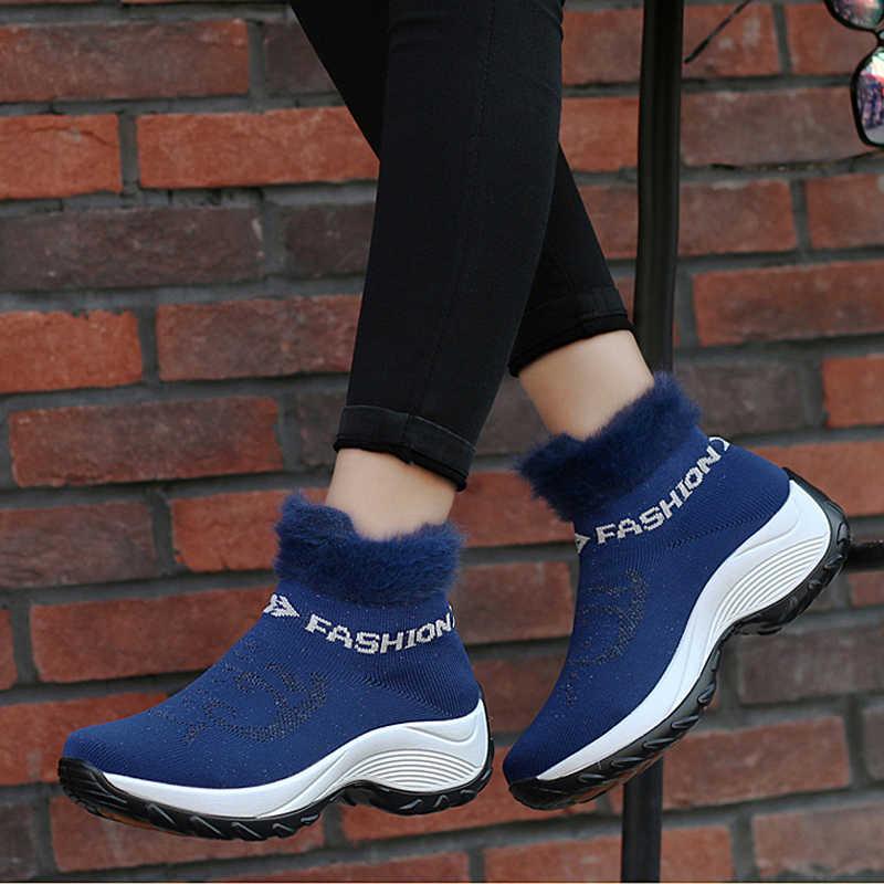 Kadın Kışlık Botlar 2019 Moda Platformu Takozlar Çizmeler Kadın Slip-on Kar Botları Kadınlar Sıcak Kürk Çorap Kış ayakkabı Büyük Boy