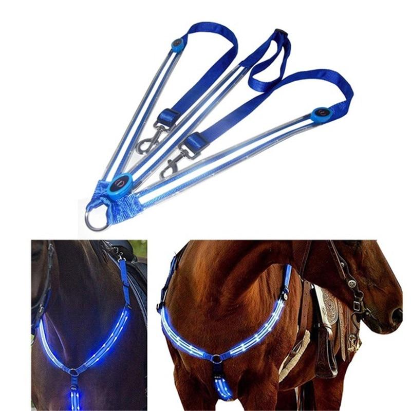LED Horse Riding Belt Waterproof Nylon Horse Chest Belt Night Visible Breastplate Equitation Lighting Equestrian Equipment 2