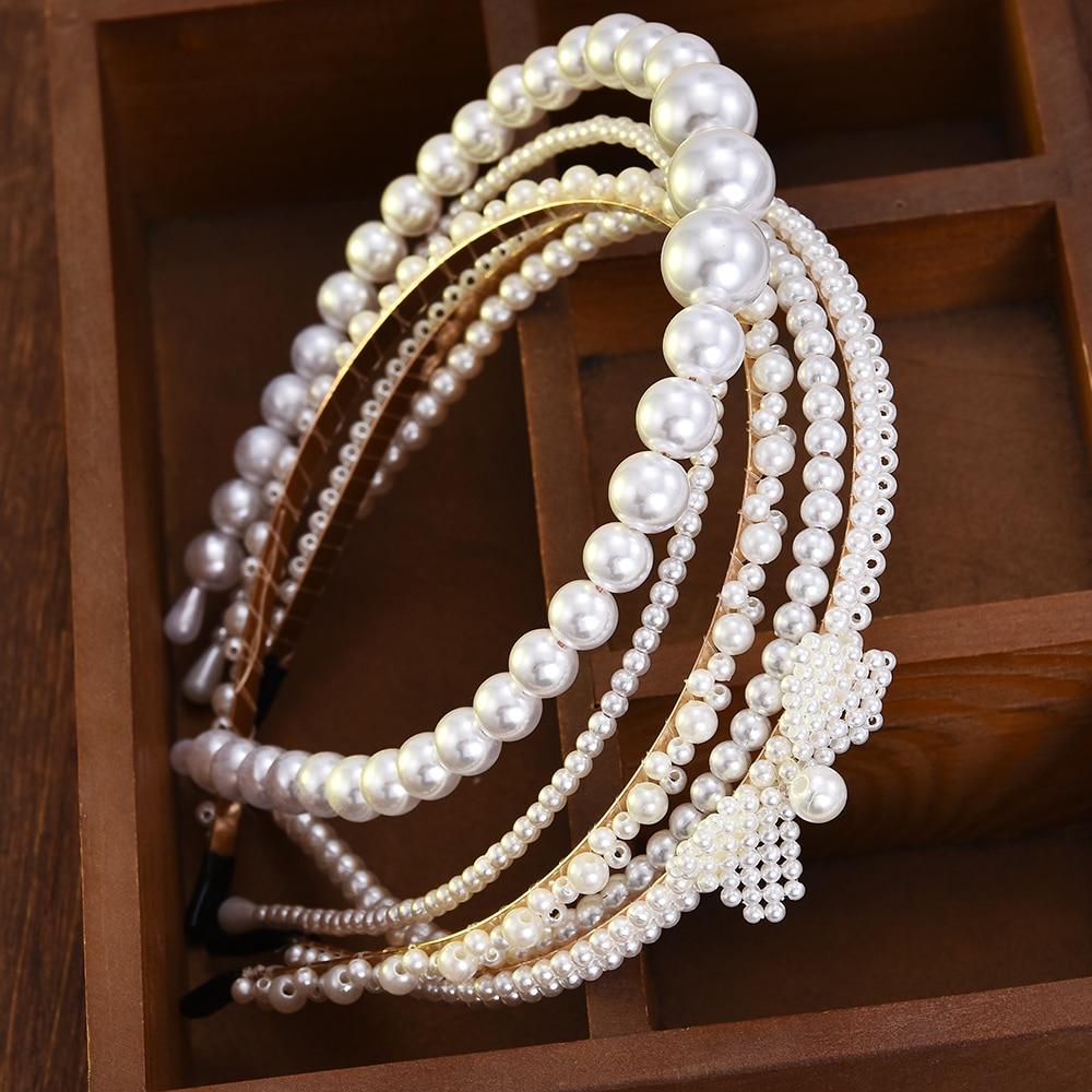 New Luxury Big Pearl Headband Women Bow Sun…