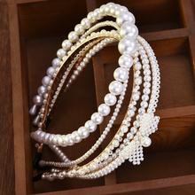 Nowe luksusowe duże perły z pałąkiem na głowę kobiety łuk słonecznika obręcze dziewczyny akcesoria do włosów biżuteria accesorios para el cabello mujer tanie tanio Z tworzywa sztucznego WOMEN Dla dorosłych Nakrycia głowy Hairbands Moda SF703-SF707