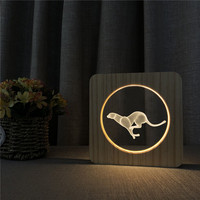 Leopard Running Animal 3D LED Arylic Wooden Night Lamp Table Light Switch Control Carving Lamp for Children's Room Party