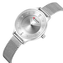 CURREN Womens Watch Diamond Female Watches Simplicity Business Quartz Silver Stainless Steel Ladies Wristwatch Waterproof