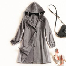 Shuchan Womens Trench Coat Hooded Pockets Covered Button England Style Wide-waisted  Middle Age Women Coats 2019 Fall Autumn