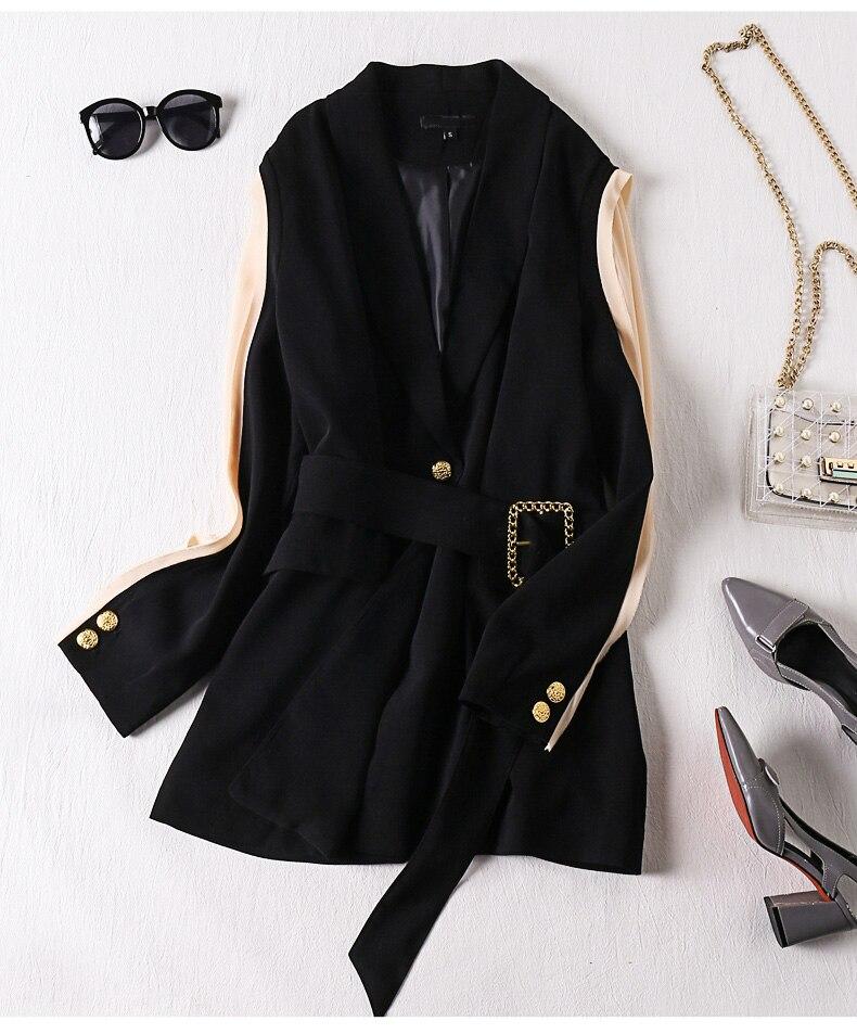 2020 Spring And Summer Women Blazer Stitching Suit Female Belt Retro New Fashion British Style Woman Suit