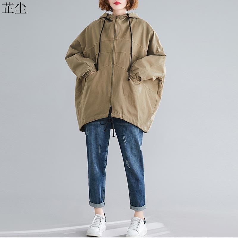 2019 Autumn Winter Vintage Female Outerwear Women Bomber Jacket Coat Big Size Long Sleeve Hooded Clothes Plus Size Jackets Coats