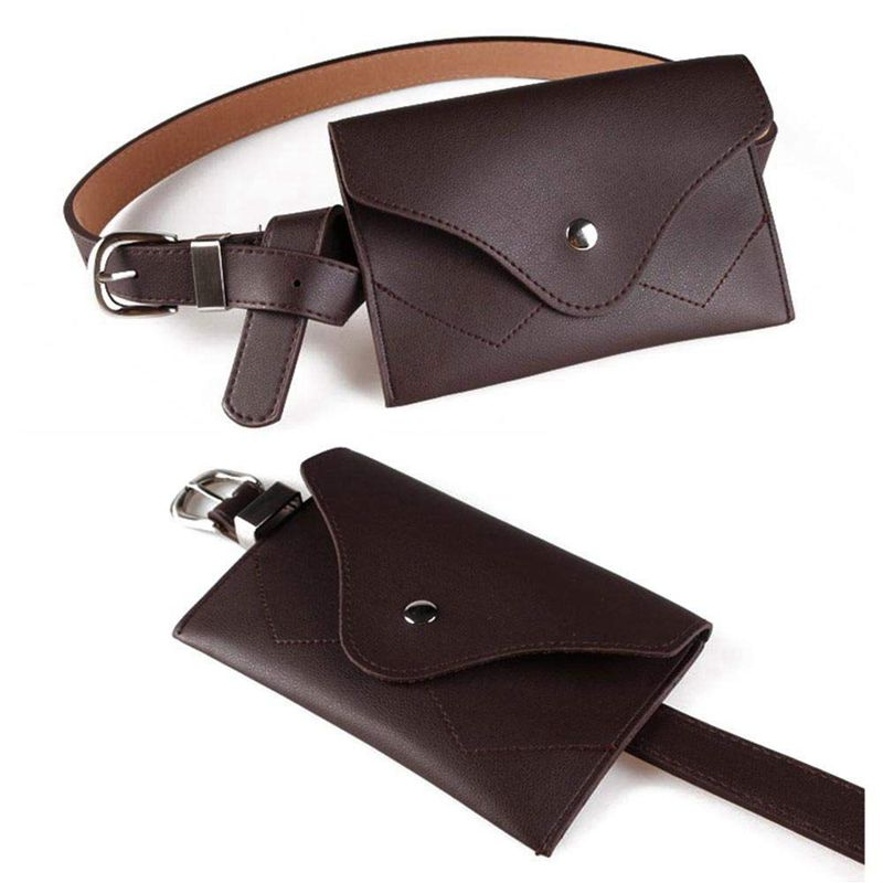 Women Fanny Pack, PU Leather Fanny Pack With Removable Belt Waist Pouch Fashion Girls Belt Bum Fanny Bag Coffee