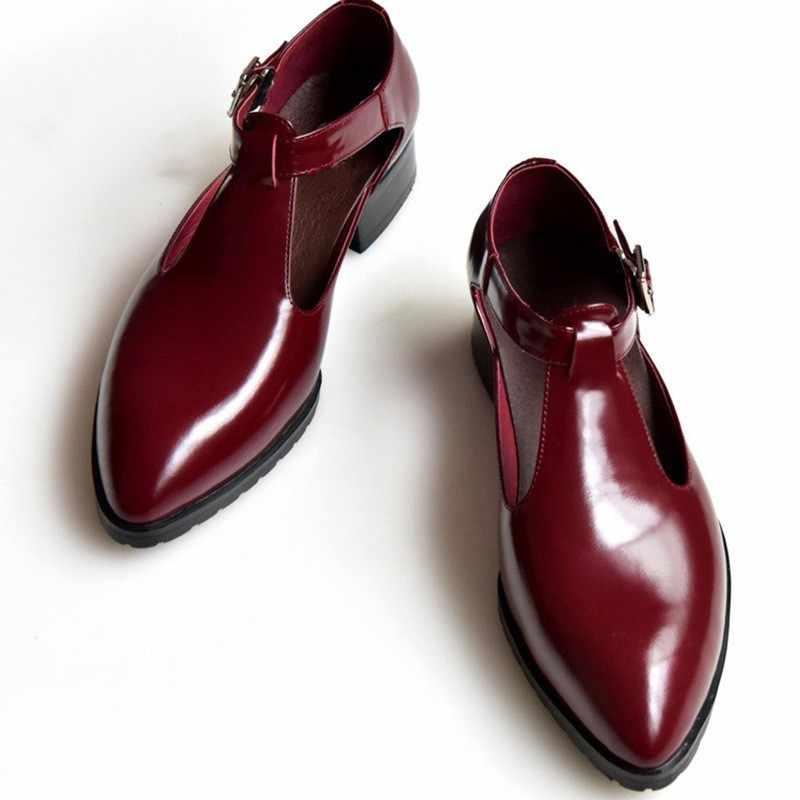 Sandálias de couro genuíno dos homens de luxo apontado toe preto 2019 verão vestido sapatos negócios casual fivela sapatos masculinos sandálias calçados