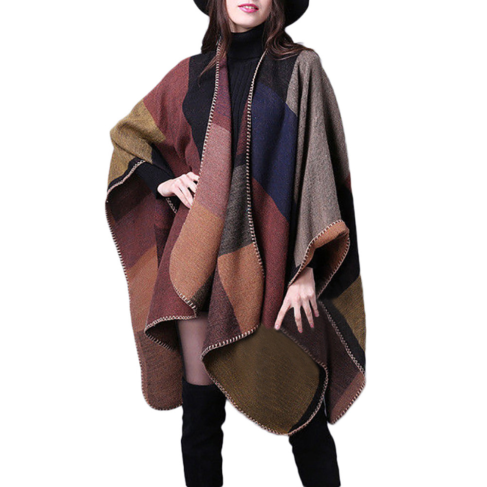 Cape Poncho Women Winter Knitted Patchwork Cardigan Capes Shawl Coat Ponchos Mujer Invierno Elegantes Winter Cloak Women