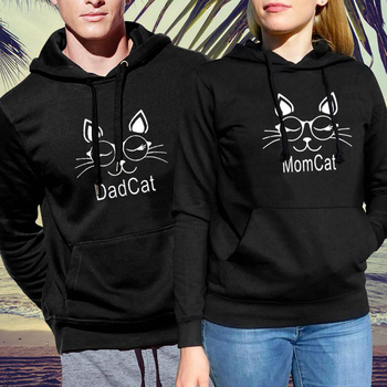 Mommy Daddy Cat Sweatshirt Streetwear Mommy and Me Clothes Gothic Women Matching Family Hoodie Print Pullovers Harajuku my daddy and me