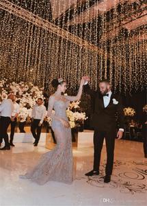 Image 5 - Luxury Crystal Beaded Mermaid Wedding Dresses With Detachable Train Sexy High Neck Long Sleeves Arabic Mulslim Bridal Gown