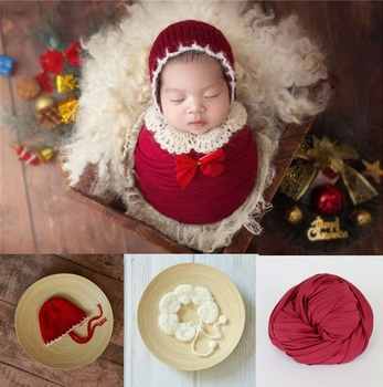 Newborn Photography Props Baby Christmas Hat Crochet Newborn Outfits Blanket Props Baby Photo Shoot Accessories handmade blanket for newborn baby photo props crochet rose flowers pink floral knitted receiving blankets photography props