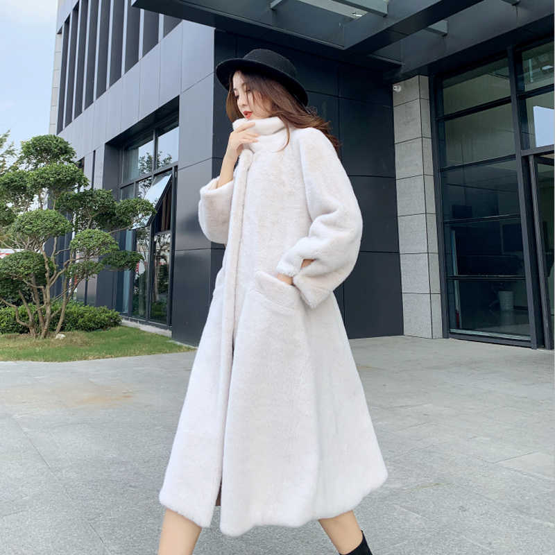 Fur coat female 2019 winter water mink coats long fur coat boutique fashion women Plus size warm Outerwear thick high-end jacket