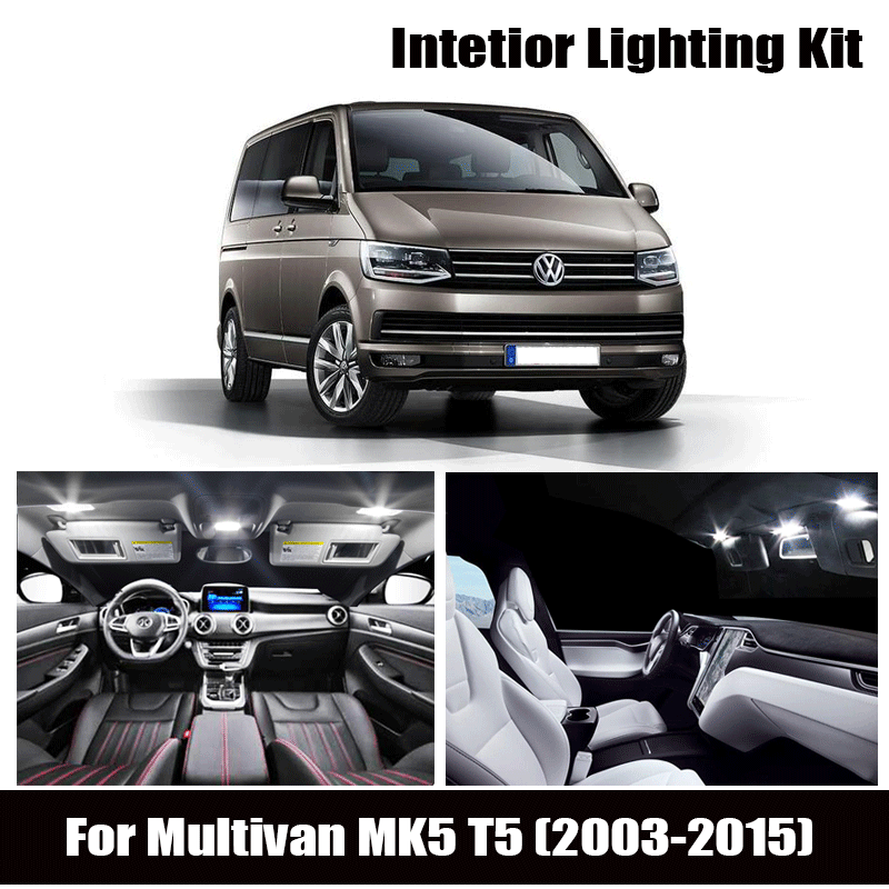 20pcs White Bulb <font><b>LED</b></font> Car <font><b>Light</b></font> Interior Kit For Volkswagen For <font><b>VW</b></font> For Multivan MK5 <font><b>T5</b></font> (2003-2015) Map Dome Trunk Glove Box Lamp image