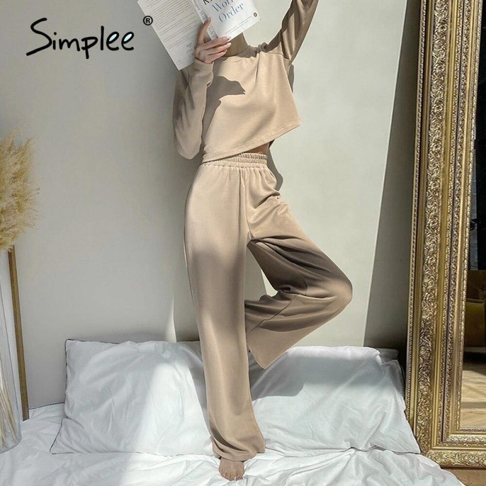 Simplee einfarbig casual frauen zwei stück Lose frauen casual cosy anzug Täglichen hause stil frauen lange hülse anzug herbst