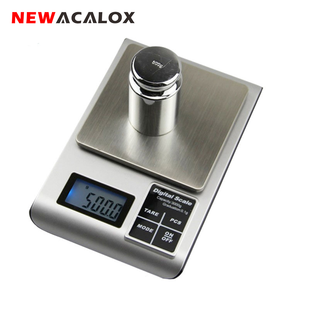 NEWACALOX Electronic Digital Jewelry Scales For Gold Bijoux Silver Gram Weighing Scale 0.01 500g
