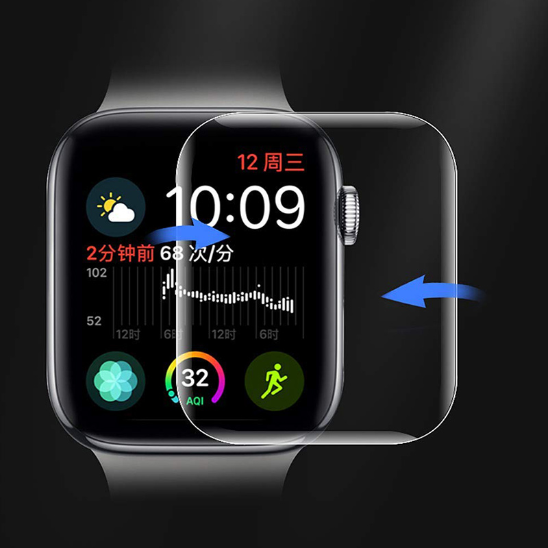 9D Full Curved Soft Tempered Glass For Apple Watch 38 40 42 44 mm Screen Protector on i Watch band strap 5 Protective Glass Film image