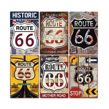 Cartel de Ruta 66 de EUA Vintage Placa de estaño de Metal para Bar, Pub, Club, hombre, decoración de pared, placa Retro, póster para decoración del hogar, 30x20cm