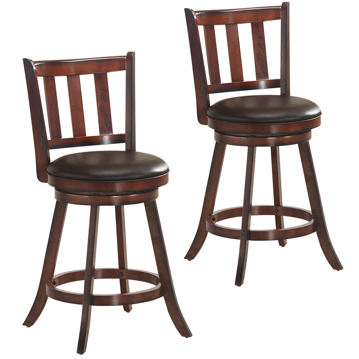 Costway Set Of 2 25'' Swivel Bar Stool Leather Padded Dining Kitchen Pub Bistro Chair