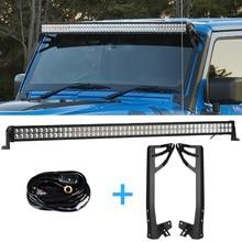 300w 52 Polegada offroad led barra de luz drl + suporte de montagem + cablagens para jeep wrangler jk 2007 2017 farol luz de nevoeiro