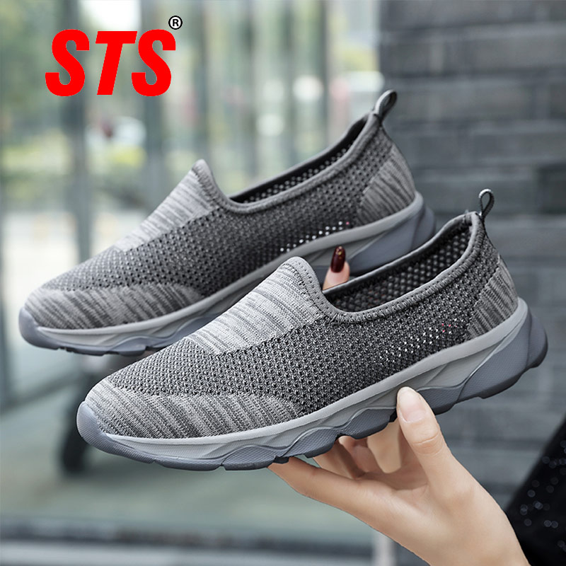 STS Women Shoes Breathe Lady Flat Summer ladys Sneaker Basket Super Light Breathable Shoes Female Mesh Sneaker Femmes Flat Shoes