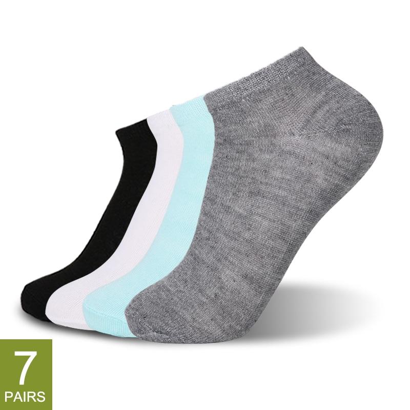 7 Pairs kadınlar pamuk çorap nefes düz renk rahat beyaz siyah gri yumuşak basit moda ayak bileği çorap