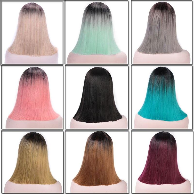 Aku Adalah Wig Ombre Berwarna Merah Muda Teguran Pendek Lurus Sintetis Wig Pirang Rambut Hitam Bob Wig Untuk Wanita Suhu Tinggi Serat Hair A Hair For Womenhair Black Aliexpress