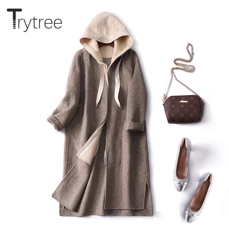 Trytree Autumn Winter Women Casual Coat  Hooded Zipper Pockets Patchwork Fashion Loose Solid 2 Colour Loose Office Lady Coat