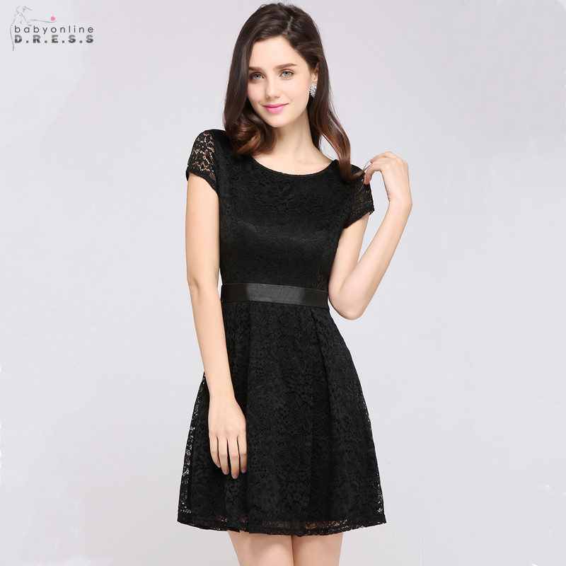 Modern A-Line Lace Cocktail Dresses With Bow Sashes Sexy Above Knee Cut-out Short Party Dresses Vestidos Coctel Robe De Cocktail