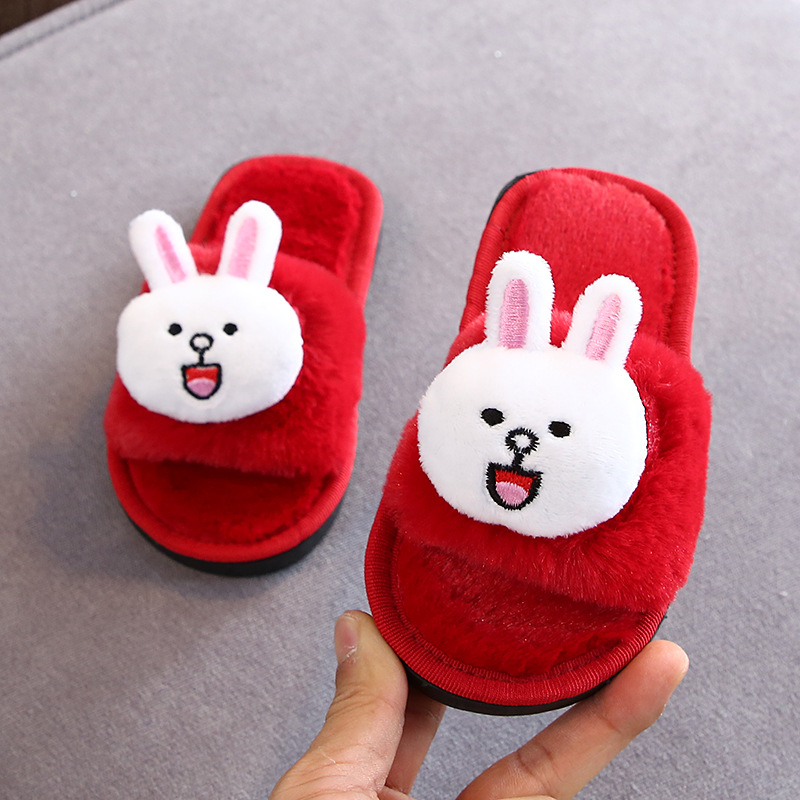 Pink Girls Slippers Fur Slides Kids Winter Shoes Indoor Toddler Slippers Girls Home Shoes Cute Hairball House Slippers For Adult