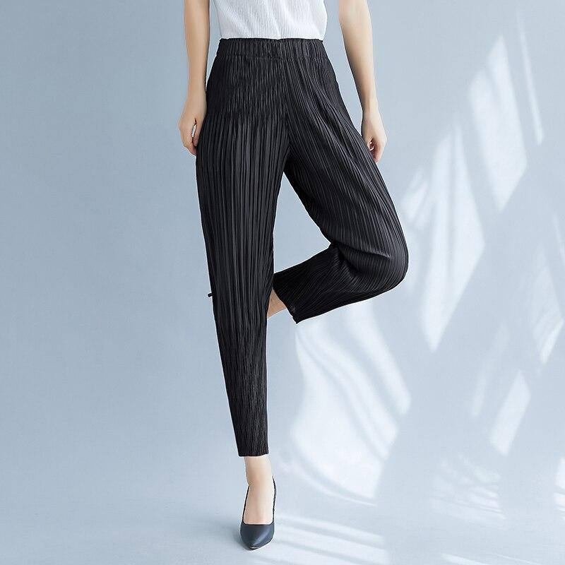 Calças femininas casuais cenoura verão outono cintura alta emagrecimento all-match harem calças preto cinza caqui miyak plissado calças