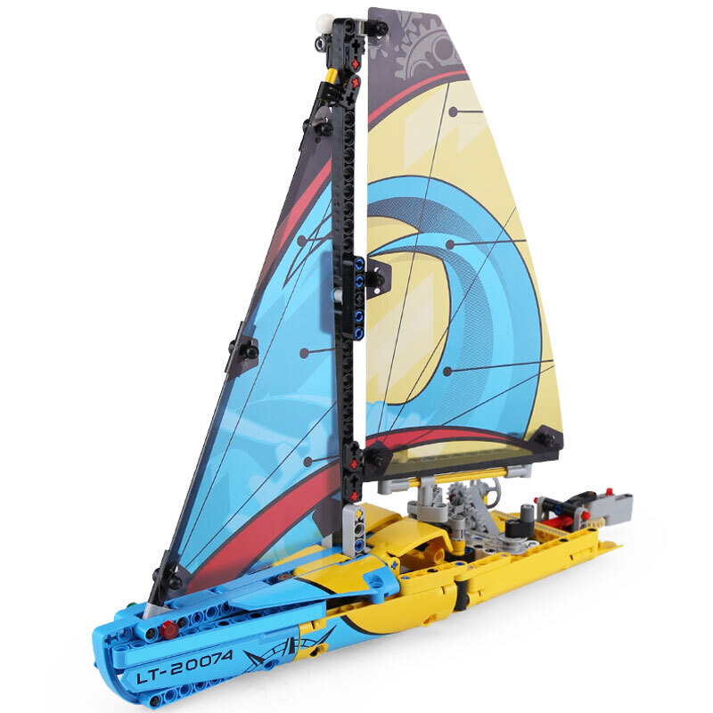20074 Racing Yacht Bricks Fit <font><b>LegoED</b></font> <font><b>42074</b></font> Creator Technic sailboat Model Kit Building Blocks Educational Toys For Children Gift image