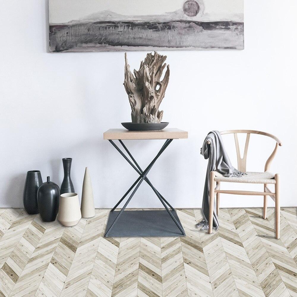 Light Chevron Floor Stickers Floor Wallpaper Waterproof Wear-Resistant Self-Adhesive Floor Tile Living Room Bedroom EWF047