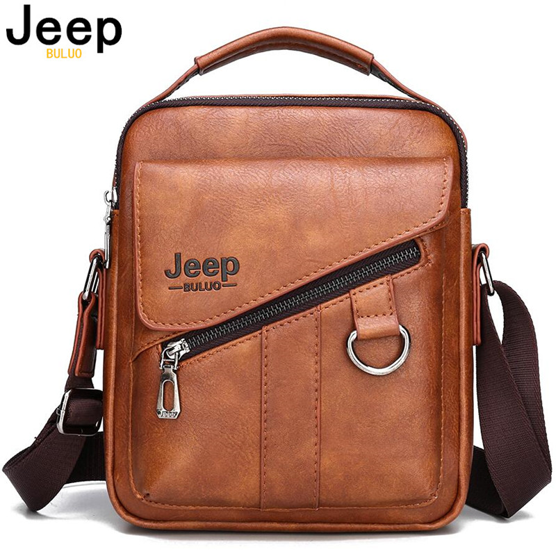 JEEP BULUO Luxury Brand New Men Bags Fashion Business Crossbody Shoulder Bag For Male Split Leather Messenger Tote Bag Travel