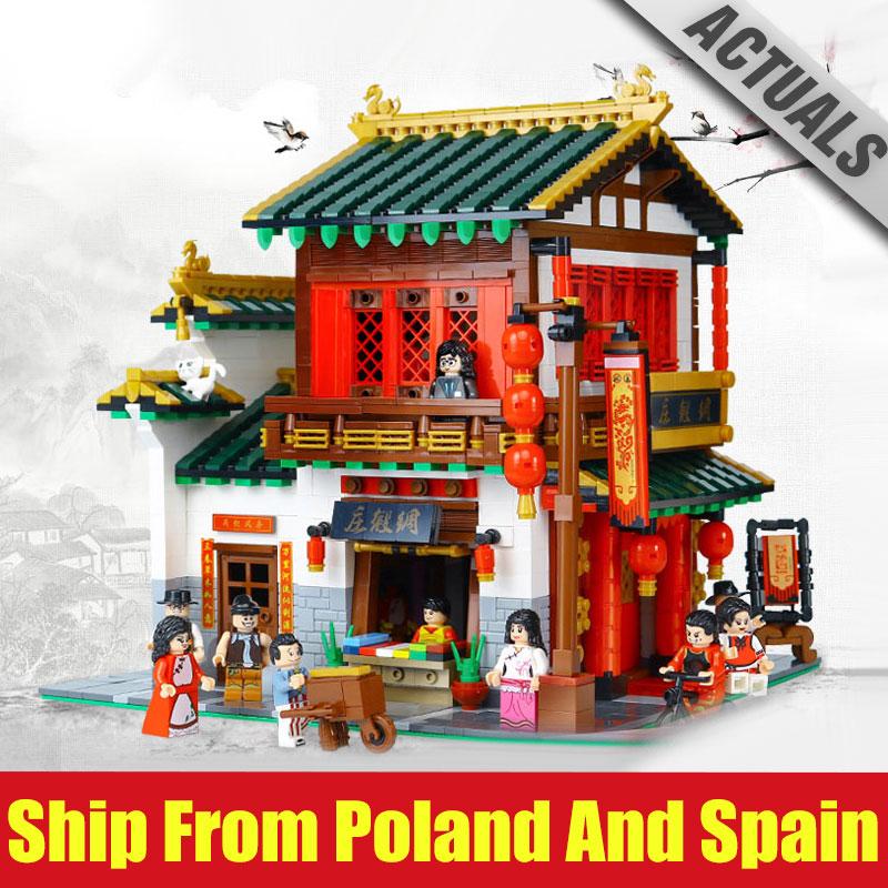 DHL 01001 Compatibel met Legoing MOC Chinese Street Building De Zijde en Satijn Winkel Set Bouwstenen Bricks Kinderen Speelgoed gift-in Blokken van Speelgoed & Hobbies op  Groep 1