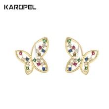цена на CZ Zircon Butterfly Stud Earrings For Women Girls Colorful Zircon Fashion Wedding Earring pendientes mujer moda 2019